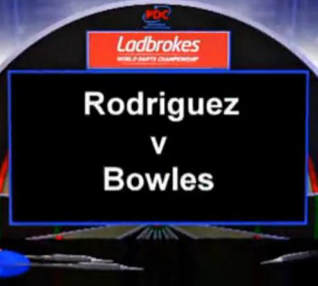 2013 World Darts Championship first round Rodriguez vs Bowles